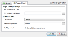 Configure CakePHP schema definitions export settings in Skipper