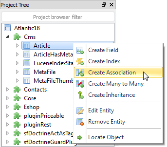 Context menu is available also in the Skipper project tree