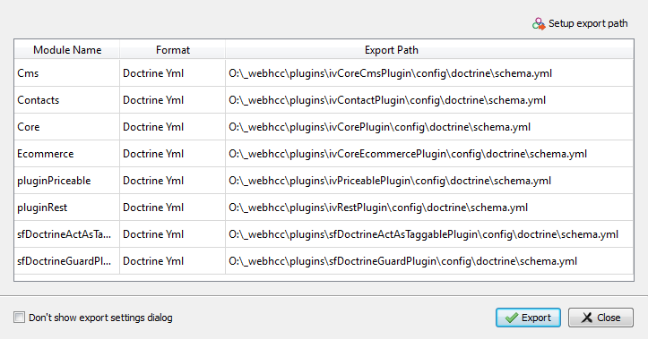 Skipper Doctrine schema definition files export configuration dialog