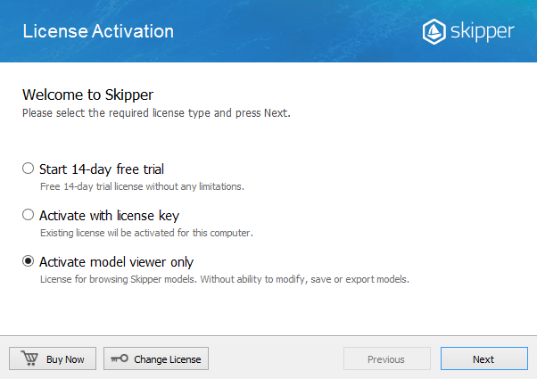Skipper License activation wizard