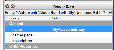 Screenshot of the property editor showing the different names of entity